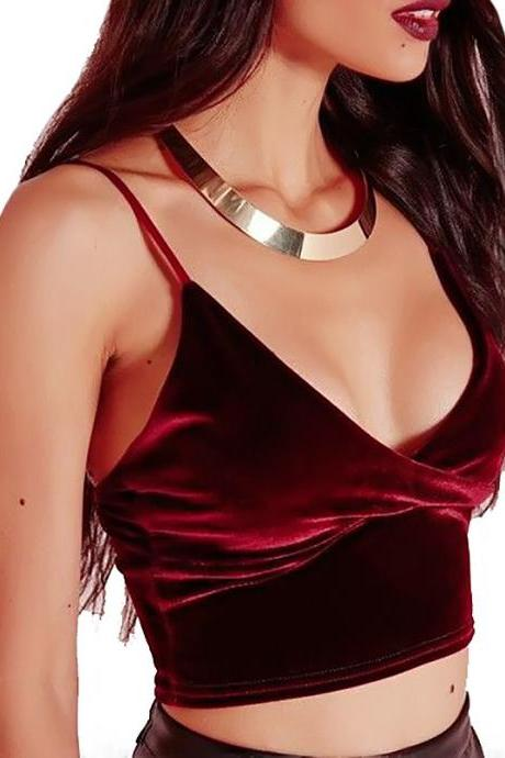 Velvet V-neck Camisole Crop Top