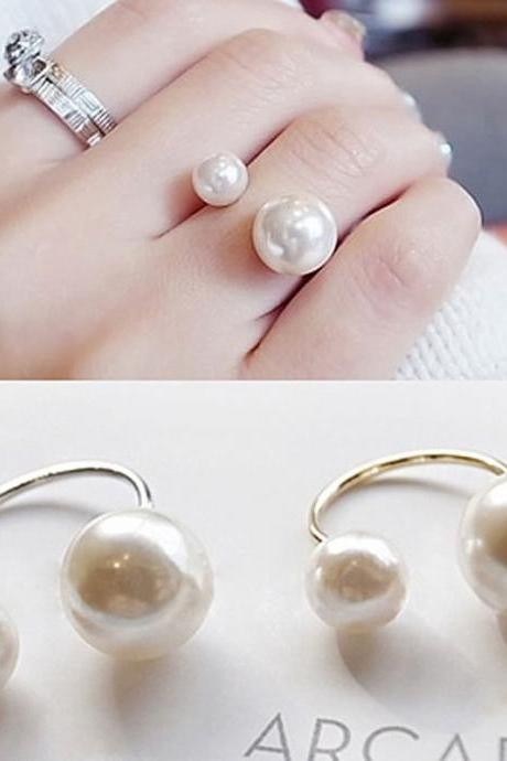 Pearls Rings Silver Gold