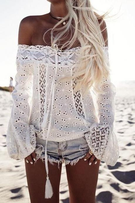 White Floral Lace Off-The-Shoulder Long Flared Sleeved Blouse