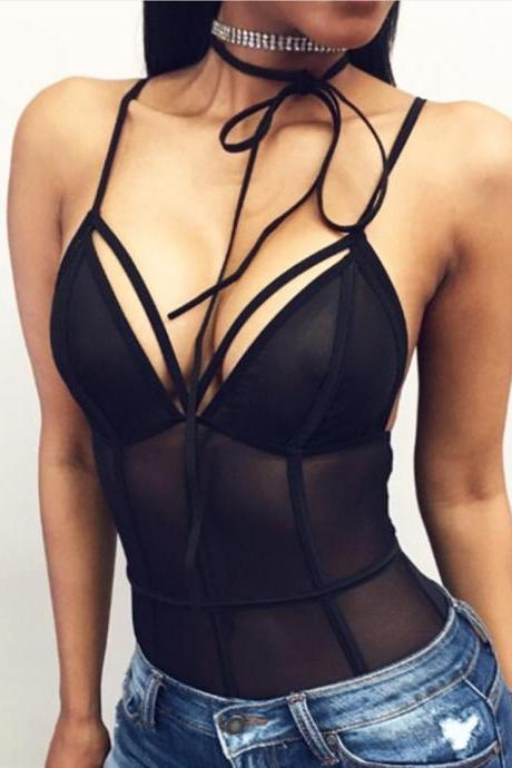 Black Sexy Bodysuits Women