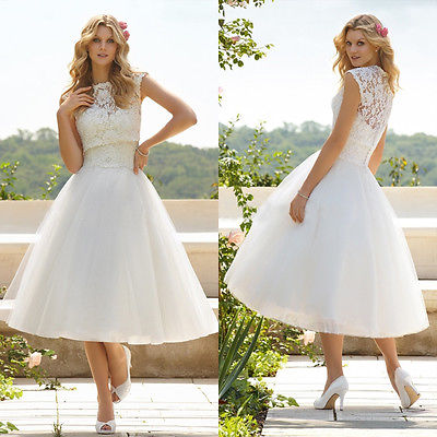 Sexy Women A Line High Collar Tea Length Tulle Appliques Wedding Lace Dress