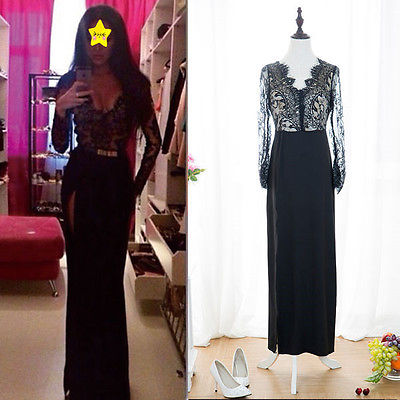 2015 Sexy Women Lace Long Sleeve Prom Ball Cocktail Party Dress Formal Evening D
