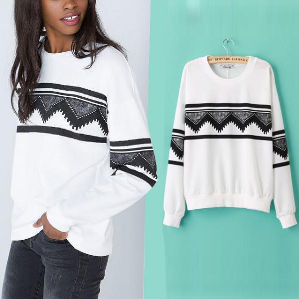 New Women Ethnic Long Sleeve Sweatshirt Pullover Hoodie Outerwear Blouse Tops