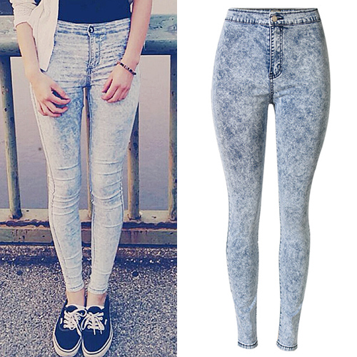 Casual Button Fly Design Blue Denim Skinny Pants