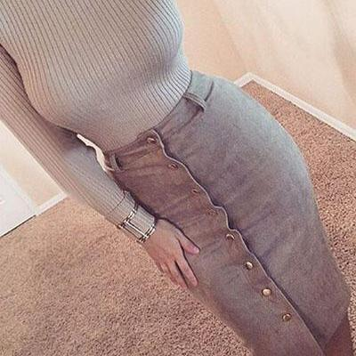 Sexy Rivets Single-breasted Grey Polyester Sheath Knee Length Skirt