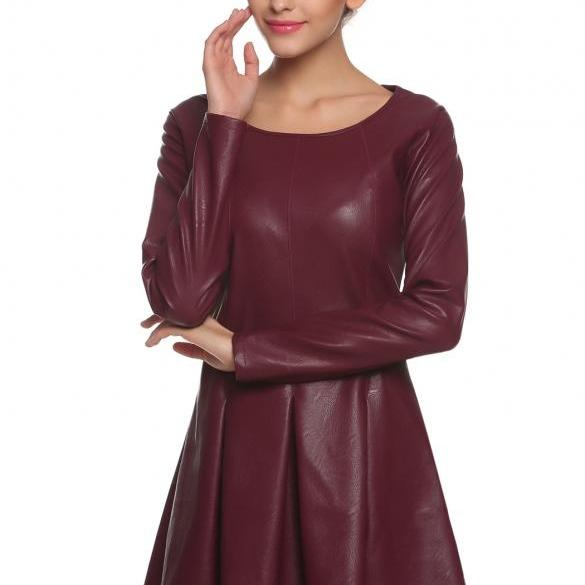 Women Synthetic Leather Dress Slim O-Neck Long Sleeve Dress ND
