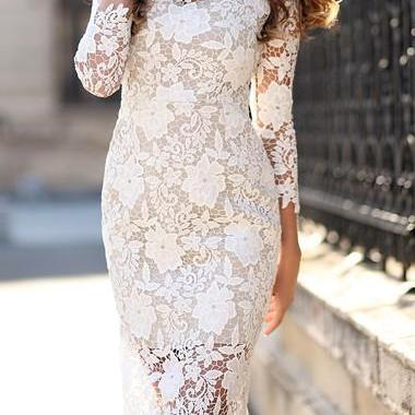 White Floral Lace Knee Length Dress Featuring Crew Neck and Three Quarter Sleeve