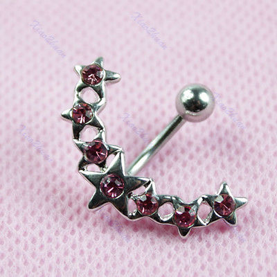 New Fashion 1pcs Star Crystal Rhinestone Belly Button Bar Navel Ring Piercing FREE SHIP!