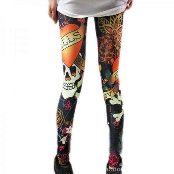 New Fashion Sexy Women's Slim Graffiti Stretchy Skull Leggings Pencil HOT FREE SHIPPING!
