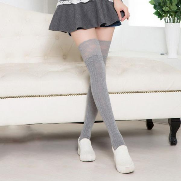 f2204f3c5d3 Lace Bow Side Knee High Lace Boot Socks on Luulla