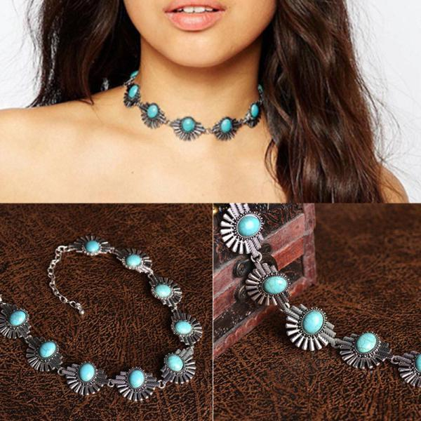 Turquoise Bead Choker Statement Necklace