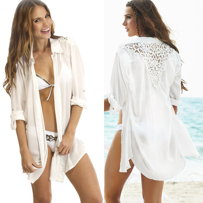 New Women Bathing Suit Crochet Back Lace Bikini Swimwear Cover Up